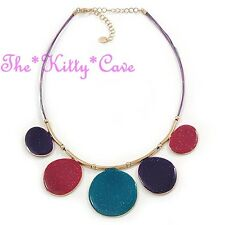 Bright Teal Blue, Purple & Pink Sparkle Enamel Gold Plated Rainbow Cord Necklace