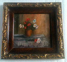 Romanian painting canvas signed carved wood frame floral flowers 1950-69 Europe
