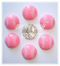 6PC GIRLY PINK SOFTBALL BASEBALL FLATBACK RESINS FLAT BACK 4 HAIRBOW BOW CENTER
