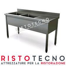 Lavatoio lavello lavabo a 2 vasche + sgocciolatoio 160x60x85h. Acciaio inox