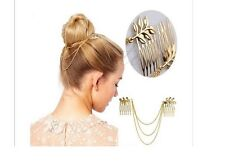 Gold Plated Punk Tassel Leaf Comb Cuff Chain Head Piece Headband Hair Band