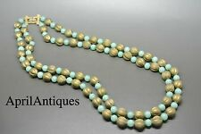 Vintage Marvella green peking glass beaded gold-tone necklace