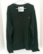 American Eagle Men's Sweater Shirt Sz XL Long Sleeve V-Neck 100% Cotton Gray