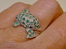 GENUINE 0.84ct! Columbian Emerald & African Sapphire, Dolphin Ring, Silver 925!