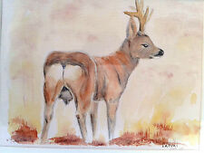 Roe Buck at Lowther, Mounted Water Colour Painting, signed & dated 2005.
