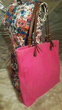 Michael Kors Jet Set Neon Pink Frosted Jelly Canvas Tote Leather Handle EUC $168