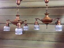 Antique Pair ART DECO Victorian Ceiling Light Fixture CHANDELIER Vintage Brass