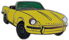 Triumph Spitfire MkIII car cut out lapel pin - Yellow