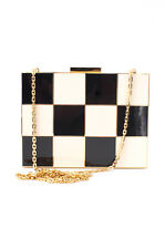 VALENTINO Black White Gold Check Print Minaudiere Clutch Evening Bag Purse