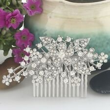 Bridal Wedding Clear Austrian Crystal Flower Hair Clip Comb Head Piece Silver