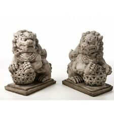Giant Foo Dogs Oriental Statue Garden Ornament Pair 70KG