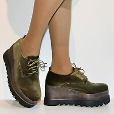 Womens Girls Party Velvet High Heel Platform Lace Up Ankle Boots Shoes Size.7681