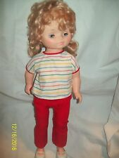 "Vintage EEGEE 18"" Plastic Sleeper Walker Doll with Clothes & Shoes-Golden Blond"