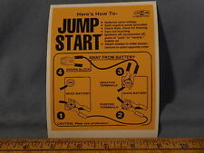 LABEL STICKER Battery How to JUMP START Warning Auto Car Truck Snow Mobile 4X4