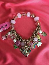 Betsey Johnson Vintage Fairyland Crystal Rainbow Tulip Pink Rose Heart Bracelet