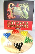 NEW CHINESE CHEQUERS CHECKERS BOARD GAME WOODEN WITH PEGS DRAGON BOX HOM