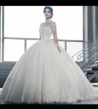 UK Sheer Neck White/ivory Long Sleeve Lace Wedding Dress Bridal Gown  Size 6-22