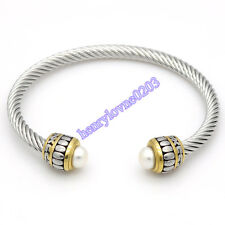 Fashion Jewelry Men Women's Stainless Steel Twisted Cable Wire Bracelet Bangle