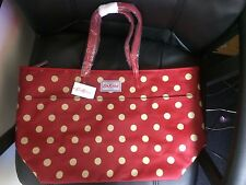 cath kidston button spot tote bag large trimmed tote bag red berry design new