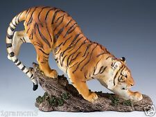 """Bengal Tiger Laying Figurine Resin 10"""" Long - Highly Detailed - New In Box"""