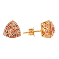 18K ROSE GOLD PAVE DIAMOND PINK MORGANITE TRILLION HALO STUD EARRINGS