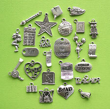 High School Deluxe Charm Collection 25 Silver Tone Charms FREE Shipping E77