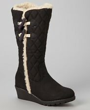 Tommy Hilfiger Girls Kids Black Faux-fur Quilted Wedge Tall Boots Size 12 NEW