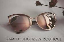 ROSE GOLD Pink SUNGLASSES MIRRORED CATEYE Reflective AVIATOR Cute BUTTERFLY