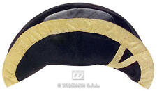 BLACK & GOLD VELVET Bicorn HAT CAPPELLO PIRATA città crier FANCY DRESS