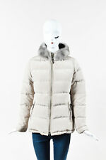 Prada Beige Mink Fur Hooded Puffer Long Sleeve Coat SZ 40