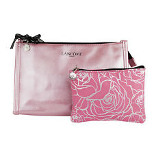 Lancome Shiny Pink Cosmetic Makeup Travel Bag Set of 2