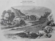 Gravure 1848 - Chemin de fer Belges Usine de Prayon