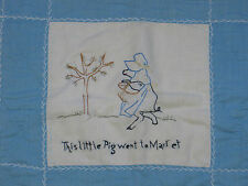 CUTE-Antique Hand Quilted Hand Embroidered~Baby Crib Doll Quilt~Nursery Rhyme