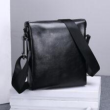 Black Mens Genuine Leather Shoulder Bag Messenger Bag Crossbody Business Bags