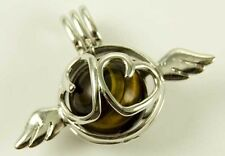 Pendant Heart With Wings Tiger Eye Caged With 16mm Ball