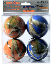 NEXT CAMO CHRISTMAS ORNAMENTS - ORANGE & BLUE CAMOUFLAGE - HOLIDAY DECOR