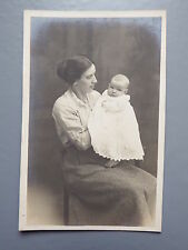 R&L Postcard: British Real Photo of Edwardian+, Mother & Baby, Clothing/Fashion