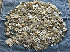 2 Lbs Pounds Antique Vtg White MOP Buttons - Mother Pearl Shell - Old Lot