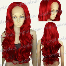 Heat-Resistant Fiber Lace Front Wigs Fashion Dark Red Long Wavy Hair