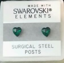 5mm Small Green Crystal HEART Stud Earrings Children's SWAROVSKI ELEMENTS Gift