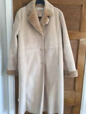 Marks And Spencer Sheepskin Style Ladies Long Coat  Fur Collar & Cuffs. Size 14