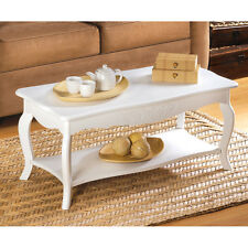 SHABBY COTTAGE CHIC WHITE ELEGANT CARVED ACCENT COFFEE TABLE  DECOR NEW~13226