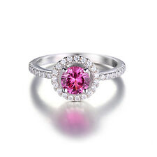 JewelryPalace Round 1.2ct Created Pink Sapphire 925 Sterling Silver Size 8