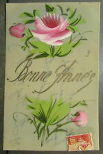 cpa fantaisie celluloid rose stylisee