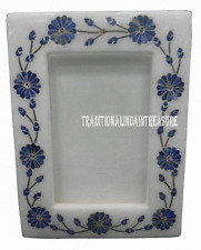 White Marble Photo Frame Real Lapis Lazuli Inlay Floral Work Mosaic Home Gifts