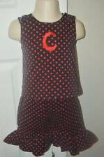 """Handmade Red Polka Dot outfit set girls initial """"C"""" EUC Boutique Size 12 months"""