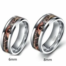 Men's Women's Couple Tungsten Forest Real Tree Camouflage Camo Wedding Band Ring