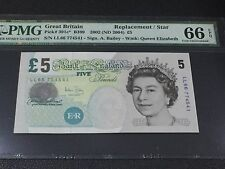 "2002(ND) Great Britain QE II 5 Pound P-391c* ""Replacement/Star Note"" PMG 66 EPQ"