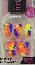 24pk IMPRESS PRE-GLUED/ACRYLIC STICK-ON NAILS/DRAG QUEEN -- NEON FLORAL PRINT