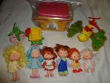 VINTAGE STRAWBERRY SHORTCAKE FIGURE DOLL LOT BIKE BUTTERFLY TIN HUCKLEBERRY PIE
